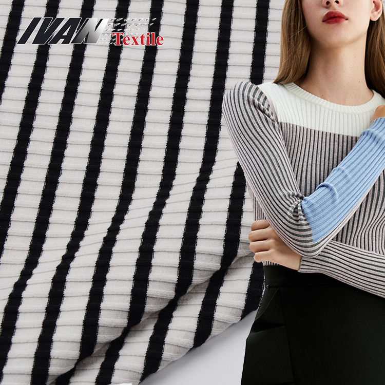 White black stripe 7*3 rib yarn dyed CVC cotton knit spandex fabric for winter garment