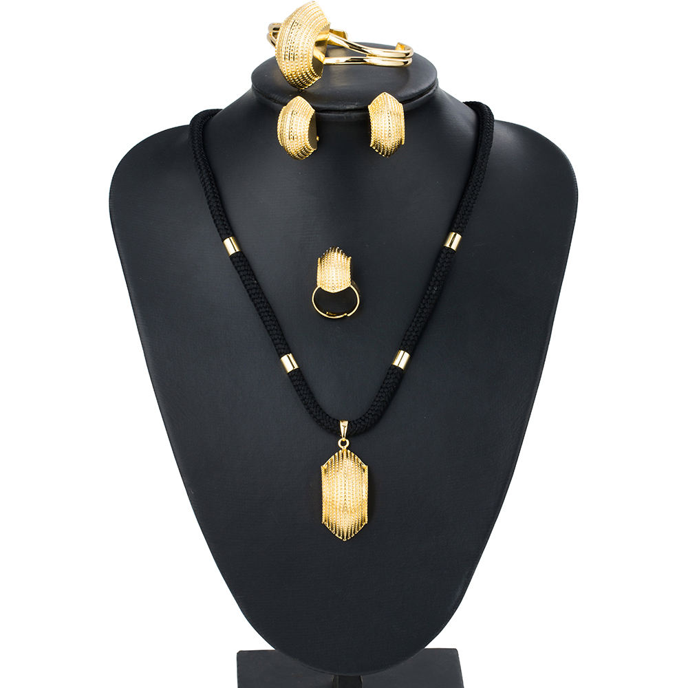 Ethlyn Ethiopian Gold Plated Jewelry Sets for Women Wedding Party Bridge Shape Black Rope Eritrean Jewelry Sets Accessories S065