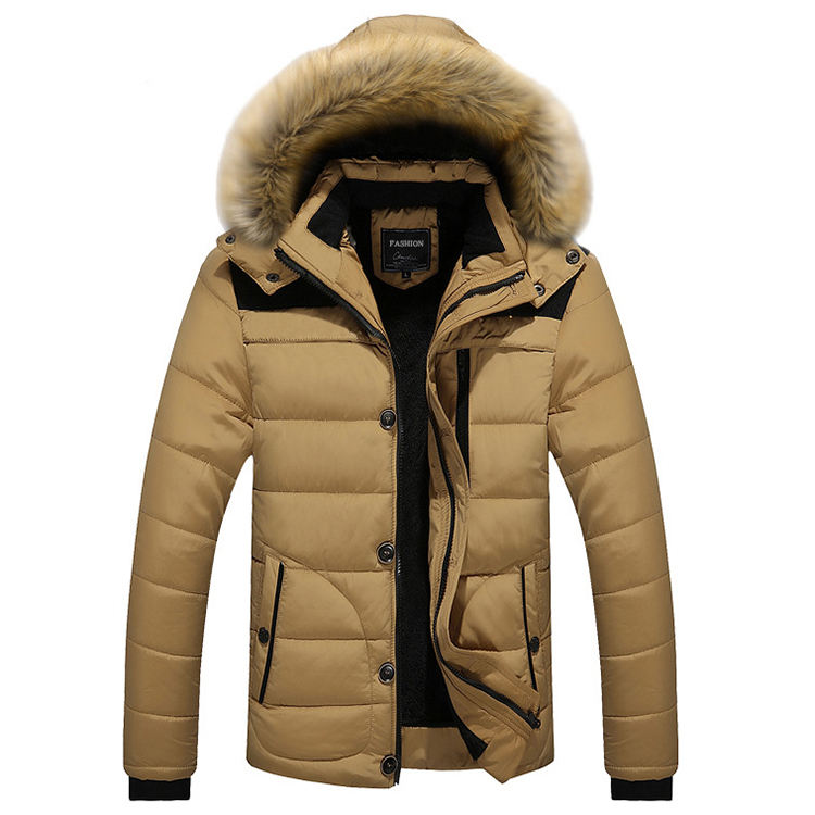 Fur Collar Hooded Velvet Parka Jacket Men Plus Size Thick Mens Cotton Winter Jacket Coat Men