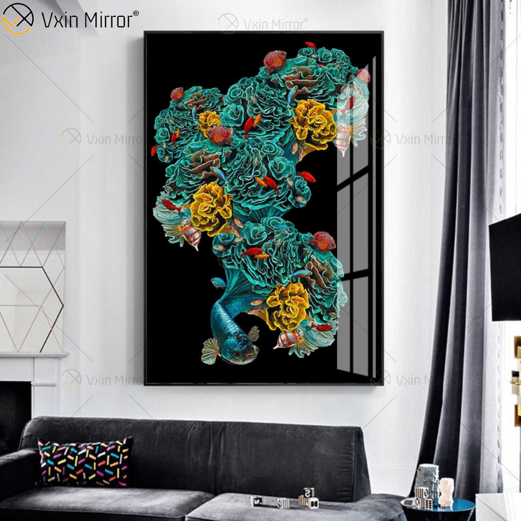Home decor MDF Colorful Crystal Mirrored Wall Art porcelain painting
