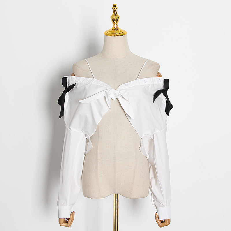CHICEVER Casual Patchwork Bow Women Blouses V Neck Long Sleeve Off Shoulder Spaghetti Strap Top Female Summer