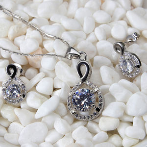 XUNBEI New Infinite Jewelry Diamond Earrings 925 Sterling Silver Necklace Set
