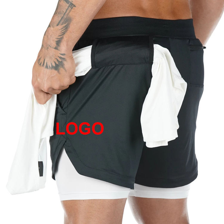 2 in 1 Compression Shorts Mens Tower Loop Drawstring Running Tracksuit Fitness Sweat Men Shorts