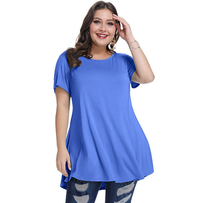 2019 Wholesale Short Sleeve Loose Fit T Shirt Basic Plus Size Womens Oversized Tshirt O Neck