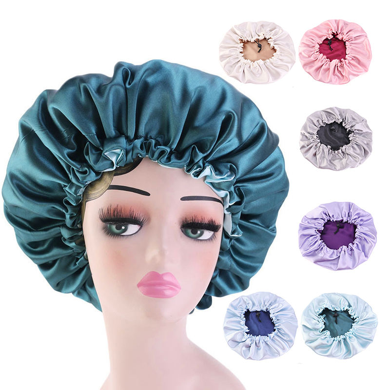 Wholesale High Quality Personalized LOGO Custom Silk Sleep bonnets Colorful Real Satin double sided bonnet Accessories