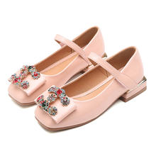 Girls Rhinestone Embellished Bow Flats Square Heels Children PU Leather Princess Student Dress Shoes Toddler/Little/Big Kid