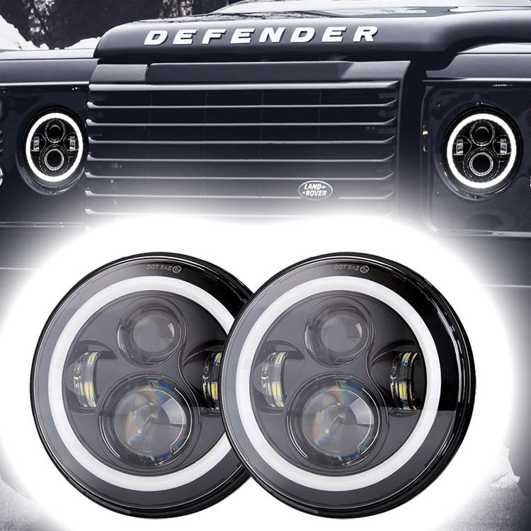 7 inch Led Headlight for Land Rover Defender Accessories Halo Led Lights for Land Rover Defender 110 Accessories 90 Parts