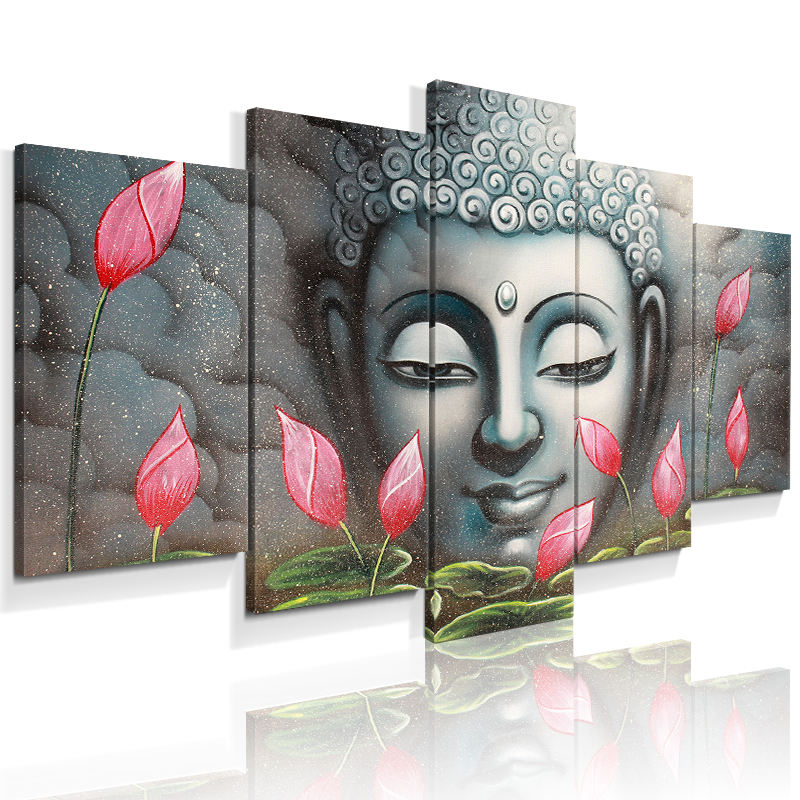 5 pieces unique Lord Buddha design wall art canvas painting