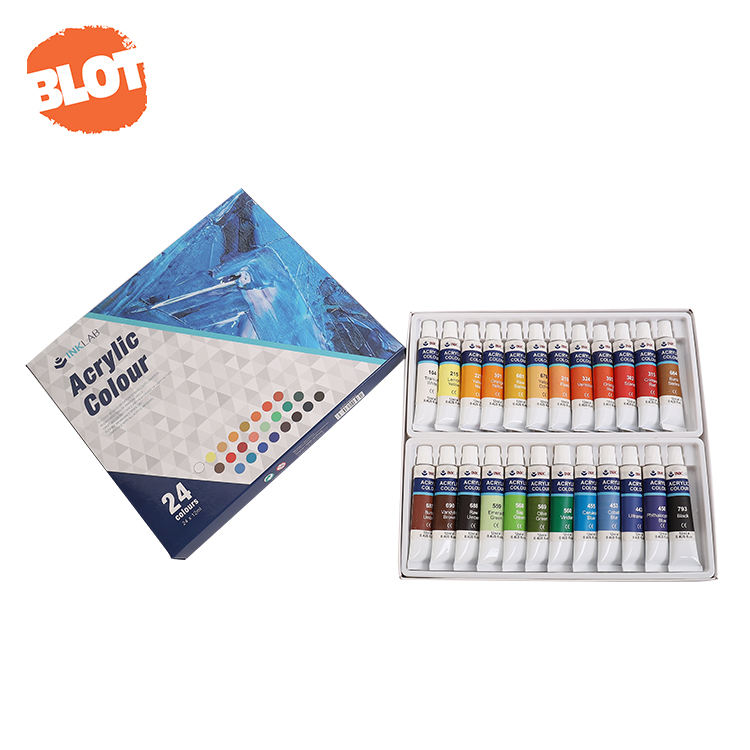 BLOT BRPIA80002 18 Colours Quick-drying High Coverage Aluminum Tube Acrylic Paint Kit