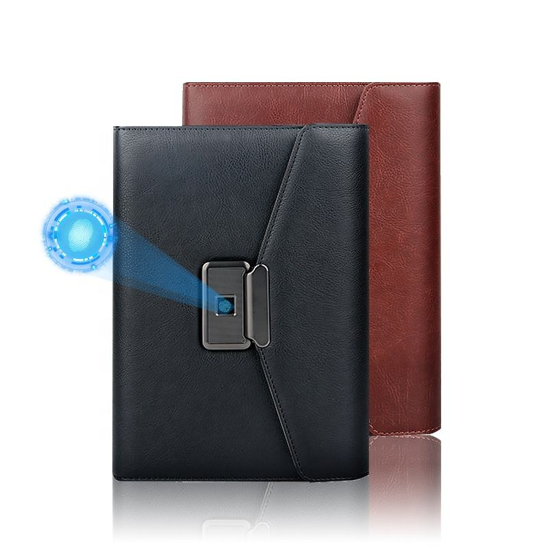Custom Leather Smart Diary Fingerprint Lock Notebook With Powerbank