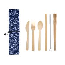 Camping tableware Bamboo wooden disposable cutlery knife fork spoon straw chopsticks brush