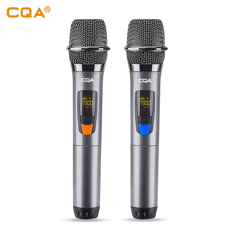 CQA hot selling mic real UHF handheld fixed frequency microphone for Karaoke dual microphone