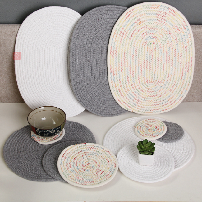 Multicolor Round Weaving Non-slip Anti-hot Dinnerware Cup Mat Bowl Placemat J