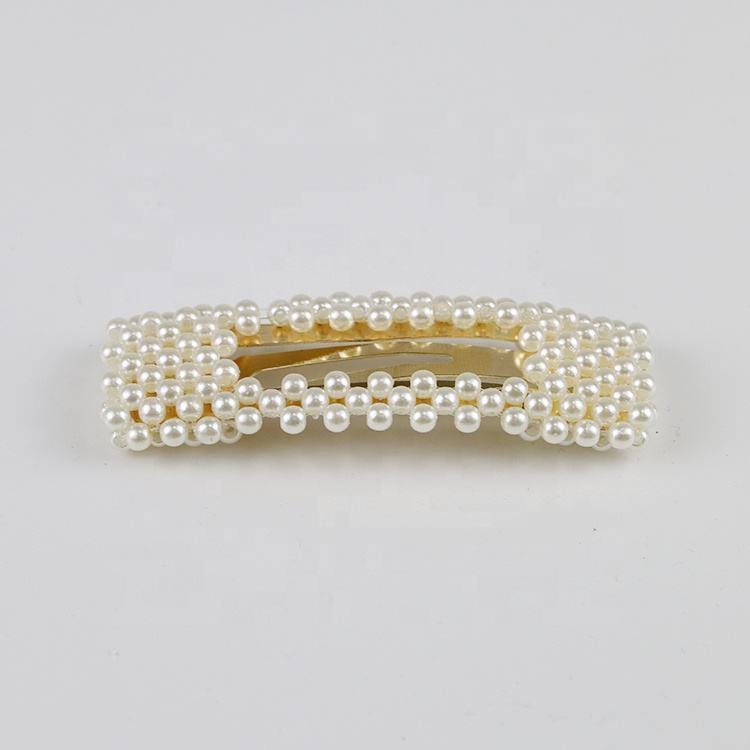 Custom new beaded square pearl hair accessories clips for women