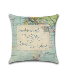 Nautical Navigation Map with Marine Inspirational Quote Ocean Pillow Cover OEM Customized Cotton Linen