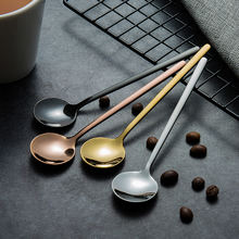 Amazon 2020 Popular 13cm 15cm 17cm Custom Mini Small Long Handled 304 Stainless Steel Rose Gold Teaspoon Metal Dessert Tea Spoon