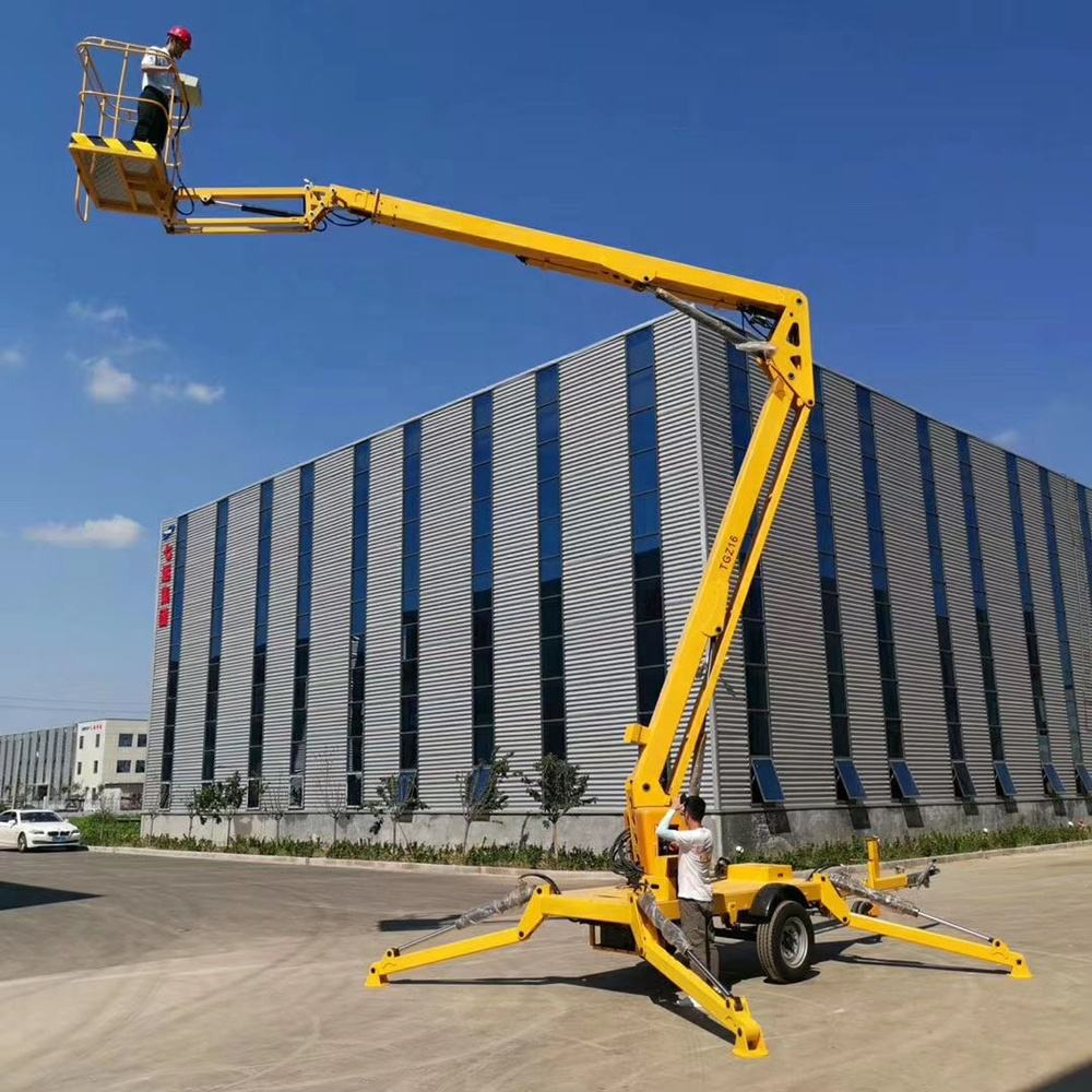china cherry picker spider lift man boom lift aerial work platform trailer mounted articulating telescopic towable boom lift
