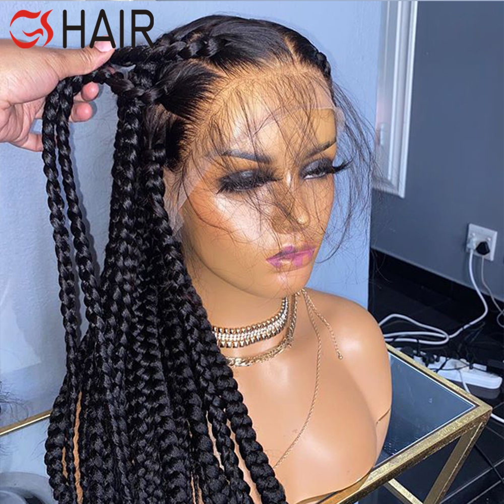 GS 150% Glueless Full Lace Braid Human Hair Wigs Pre Plucked Bleached Knots Remy Brazilian Hair Wigs Straight Natural Wigs