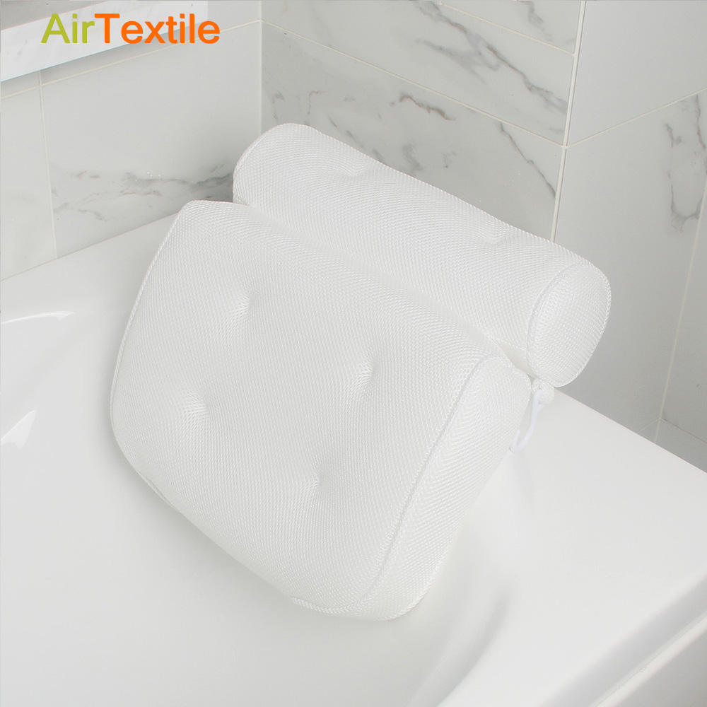 Breathable and washable 3D air mesh bath pillow with headrest