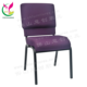 Cheap full covered back pouch purple linkable church chair with bookshelf