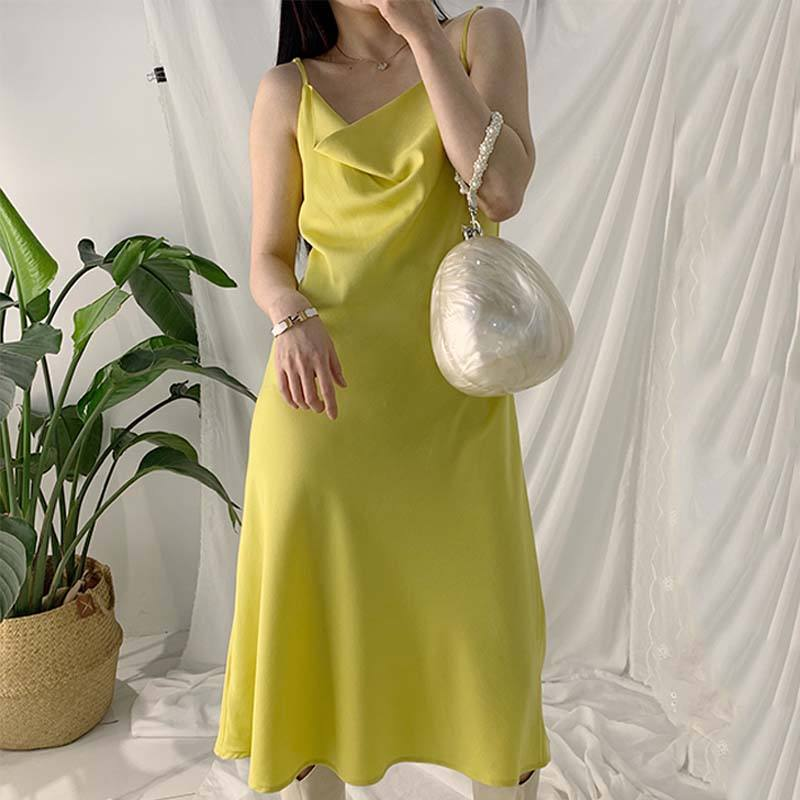 Anti-Static [ Maxi Dress ] Maxi Dresses J20008 Collared Collar Long Silk Slip Maxi Breast Open Dress Manufacturer