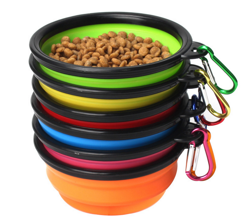 Travel Camping Hiking Walking Dog Dish Bowl Collapsible Dog Bowl Pet Bowl with Carabiner Clip