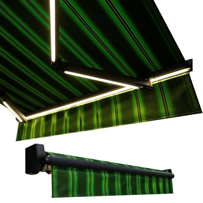 New Design Affordable Patio Aluminum LED Light Outdoor Sunshade Retractable Commercial Awning