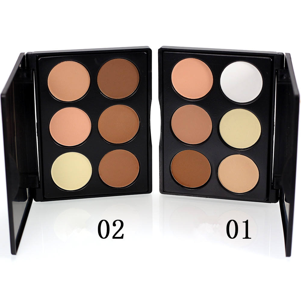 Waterproof 6 colors face powder hot selling pressed powder palette