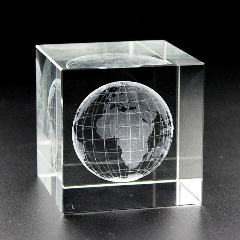 Custom 3D Laser Engraved Crystal Cube Paperweight Souvenirs Engraving Earth Globe Crystal Glass Block Gifts