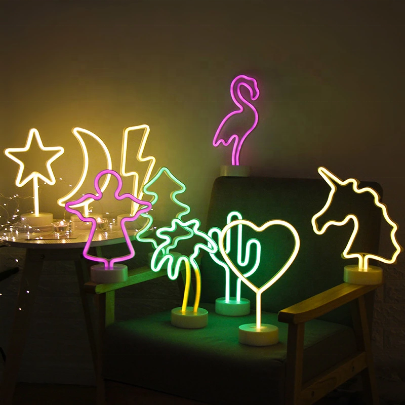 Manufacturer explosion waterproof Small Decorative Night Strip Battery neon light For Bedroom Desk decoration led table lamps