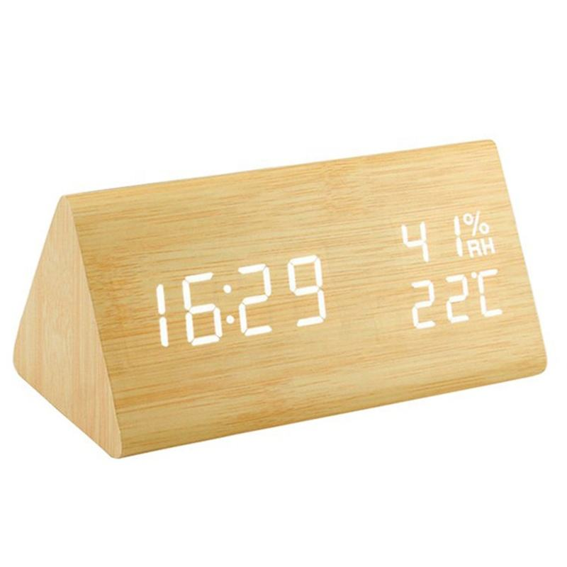 KH-WC008 Hotel Room Triangle Desktop Gift Electronic Digital Display LED Wooden Alarm Table Clock With Temperature and Humidity