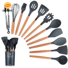 BPA Free compostable non stick reusable household cook tool silicone cooking utensils set kitchen utensil