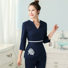 Spring Woman Spa Massage Beauty Salon Work Uniform Medical Hospital Nurse Dentist Suit V-neck 4Colors Wholesales Clothing