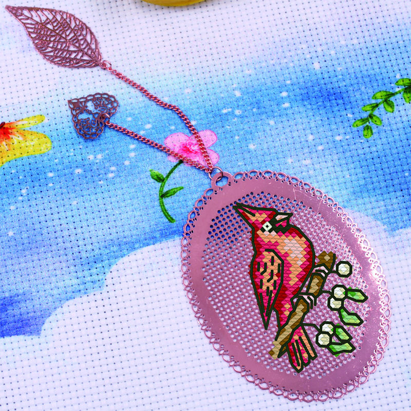 Birds DIY Craft Stich Cross Stitch Bookmark Metal Silver Golden Needlework Embroidery Crafts Counted Cross-Stitching Kit