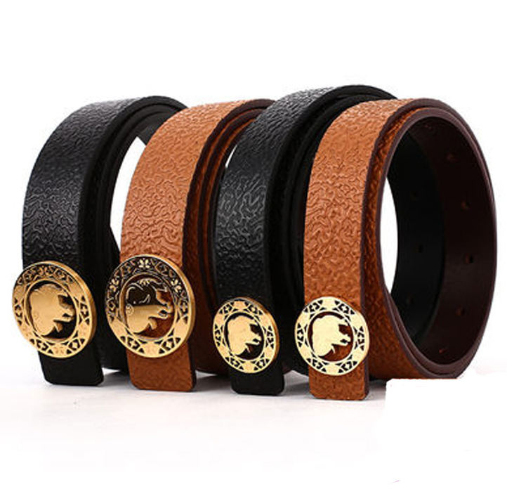 3.0cm 3.8cm width high quality stainless steel western buckle hot stamp top strong belt leather for men
