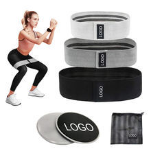 Custom Logo Wide Anti Slip Fabric Resistance Bands Set, Women Hip Exercise Workout Booty Bands with Core Sliders