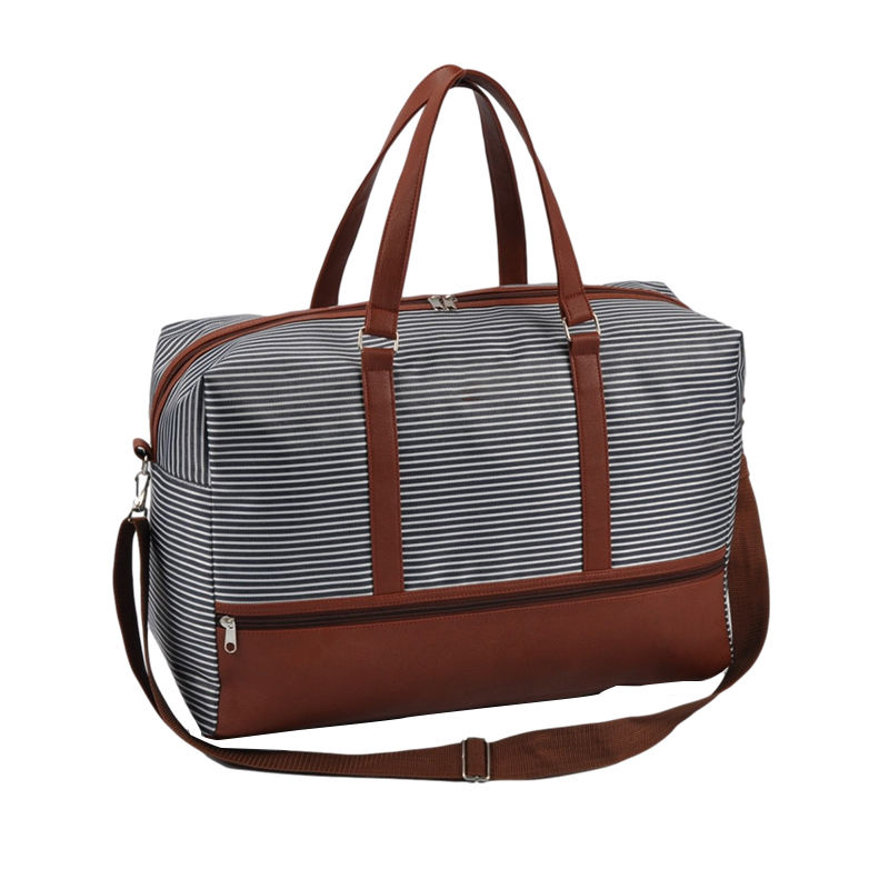 Fashionable Classic Overnight stripe large traveling womens weekend duffle bag