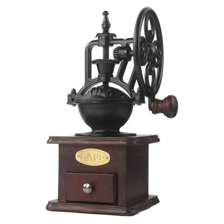 Retro style antique logs base manual hand coffee bean grinder cast iron coffee grinder