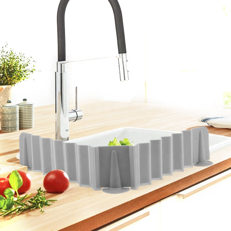 Upgraded Custom Stretchable Baffle Silicone Sink Water Splash Guards Baffle for Home Kitchen Bathroom