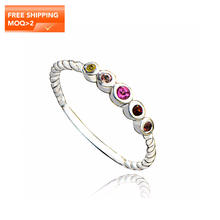 Authentic Sterling Silver 925 Ring Designer Jewelry Luxury Twisted Band Colorful Natural Tourmaline Gemstone Fine Jewellery