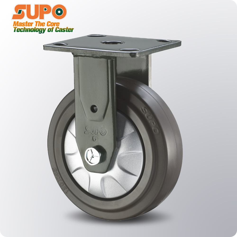 SUPO Industrial caster wheel 4inch 5inch 6inch 8inch rigid direction Ultra-quiet synthetic rubber ER heavy duty casters