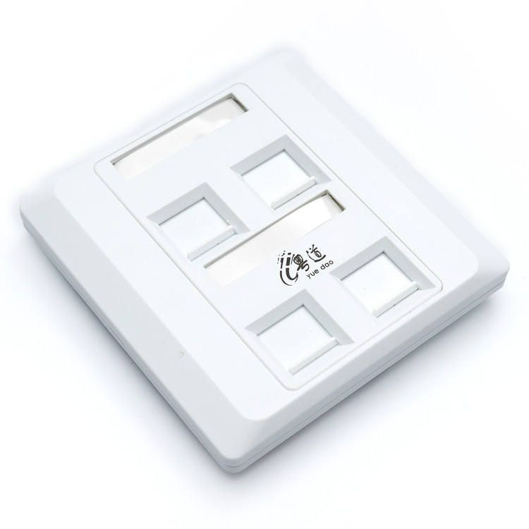 Network 4 Port Cat6 RJ45 RJ11 Wall Mounted Face Plate from factory with good price