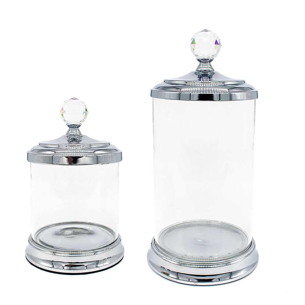 Glass Jar Decorative Crystal Terrarium Clear Round Custom Sale Empty Cream Cookie Candy Metal Lid Containers Storage Glass Jar