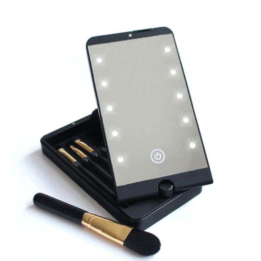 10 Touch Dimmer LED Bulbs Cosmetic Makeup Organizer Hand Custom Pocket Smart Touch LED Makeup Mirror With Light Brush