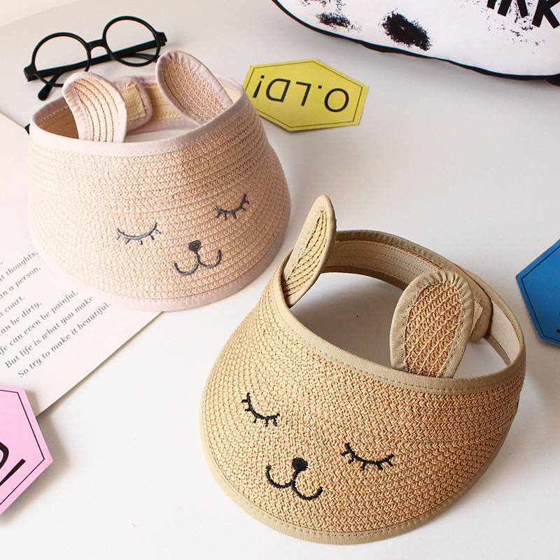Cute embroidered bear empty top foldable children straw hat Travel beach wild baby cap visor