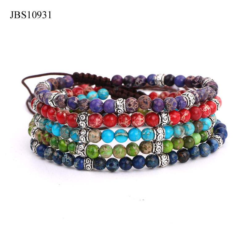 High quality fashion 4mm colorful imperial sediment jasper stone Tai silver charm beads women jewelry macrame bracelet