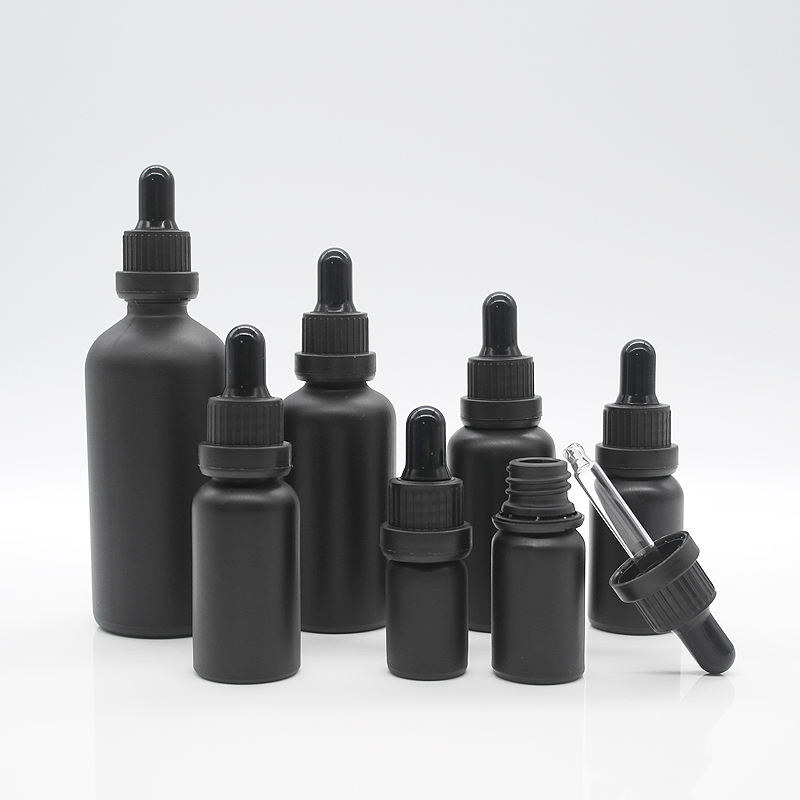 5ml 10ml 15ml 20ml 30ml 50ml 60ml 100ml and 120ml frosted matte white black glass dropper bottle with tamperproof lid