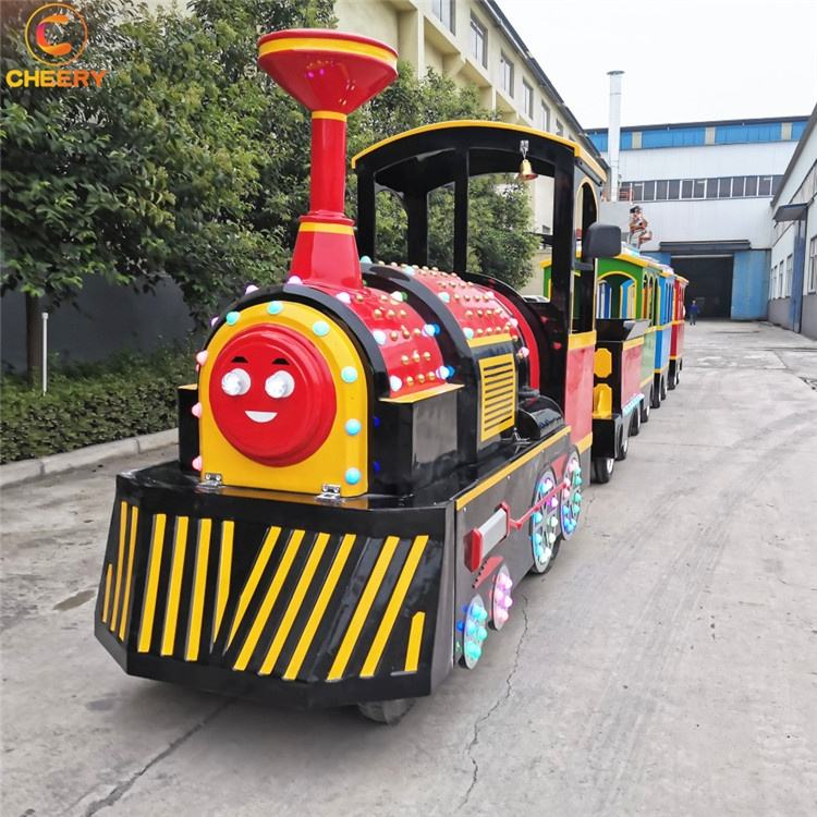 Classical Amusement Park Rides Tourist Attraction 24P Steam Electric Mini Trackless Train Ride For Sale