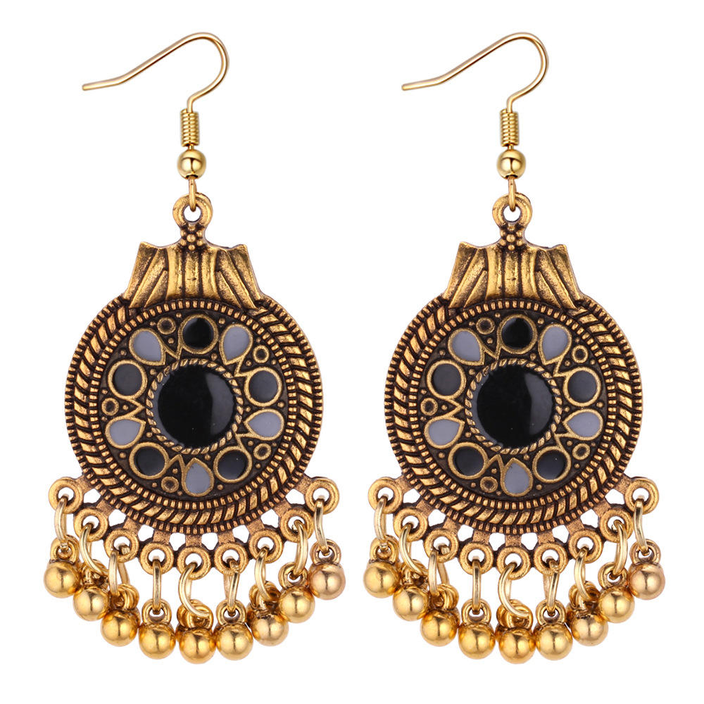 VRIUA Ethnic Vintage Tassel Dangle Earrings for Women Bohemia Style Earring Indian Jewelry Brincos