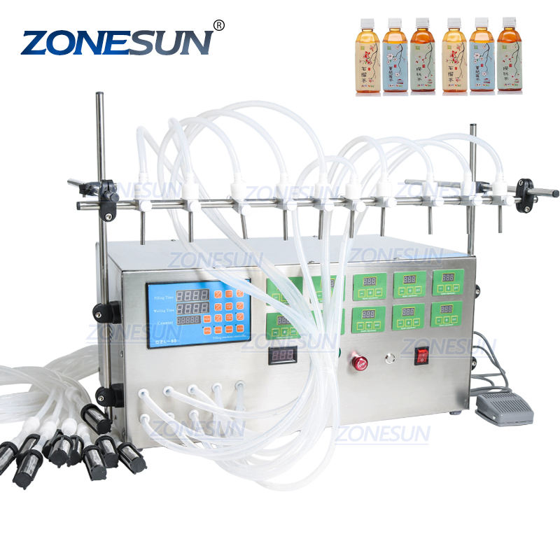 Zonesun Digital Control Vloeistof Essentiële Olie Water Sap Cnc 10 Heads 3-4000 Ml Vulmachine